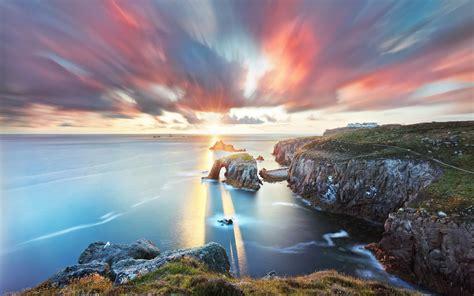 sea coast landscape cliff horizon sunset nature