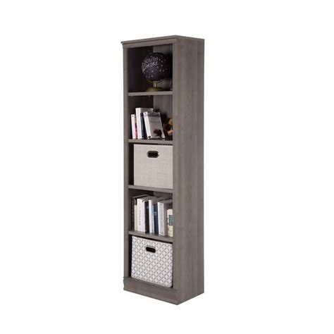 south shore 5 shelf bookcase south shore 5 shelf narrow bookcase in gray maple