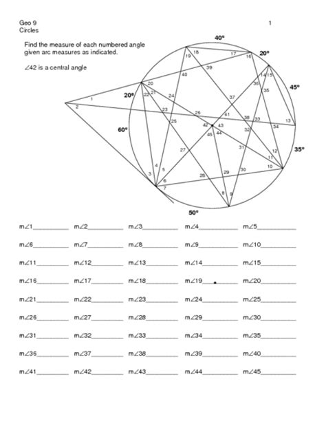 inscribed angles in circles worksheet worksheets for all