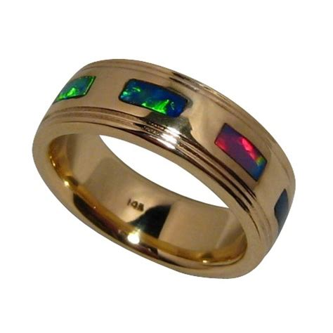 mens opal ring 14k gold ribbed edges natural gems flashopal