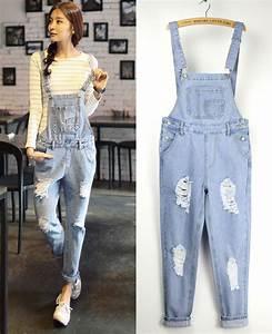 Salopette Women New Fashion Denim Dungarees Hole Jeans ...