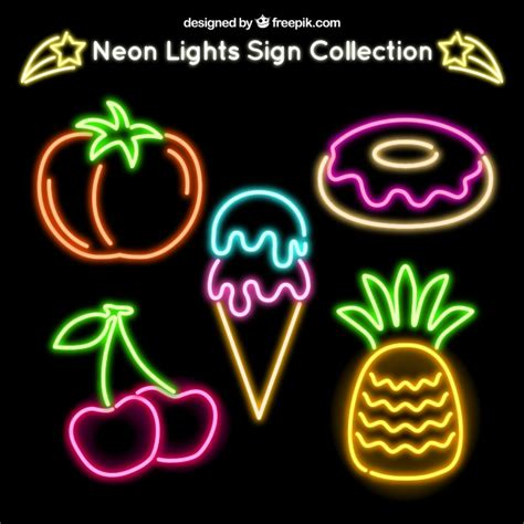 neon cuisine pack of neon food signs vector free