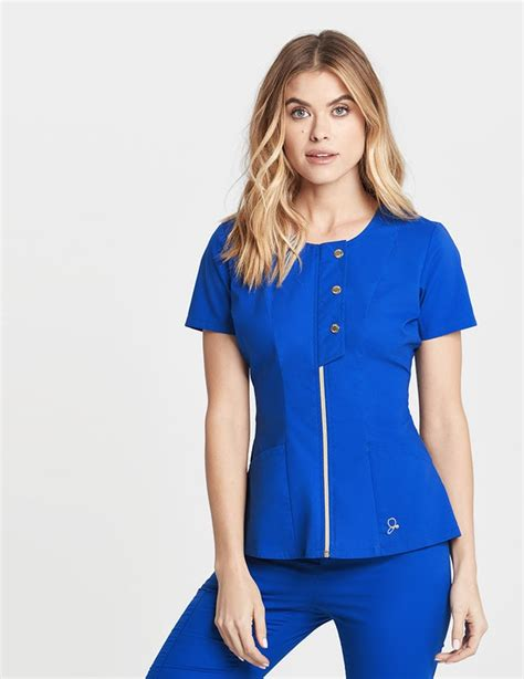 The Snap Front Top in Royal Blue - Medical Scrubs by Jaanuu