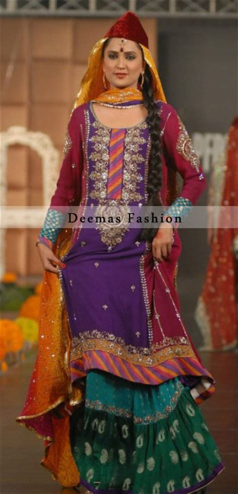 multiple color mehndi wear bridal dress pakistani