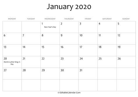 editable calendar january