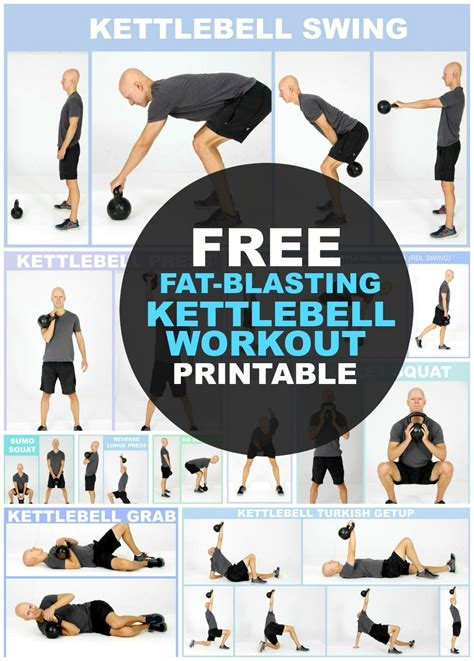kettlebell workout exercises printable weight body loss routine beginners workouts routines chart fitness kettlebells fat arm exercise training yurielkaim losing