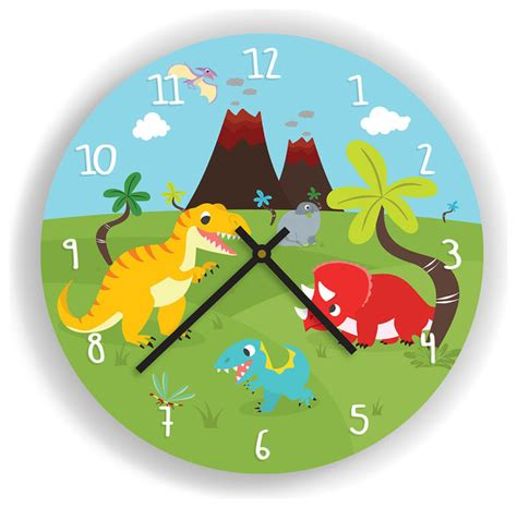 Dinosaurs And Volcano Wall Clock For Kids Room