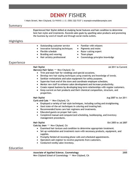 Hairdressing Resumes by Hair Stylist Resume Exle Personal Services Sle