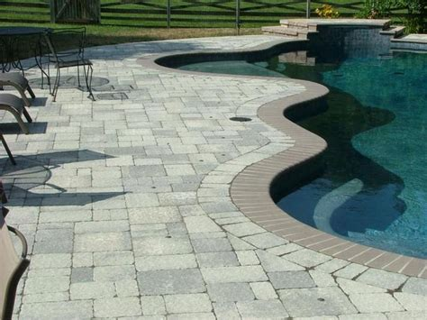 resplendent paver sealer around pool with bullnose pavers