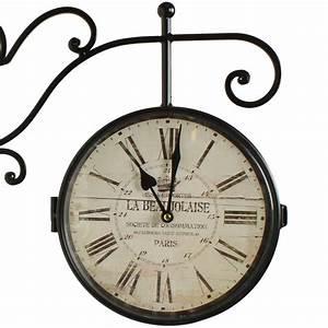Horloge De Gare : horloge de gare ancienne double face la beaujolaise 24cm ~ Teatrodelosmanantiales.com Idées de Décoration