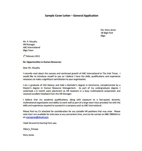 Application Cover Letter Template Word by General Cover Letter Templates 12 Free Word Pdf