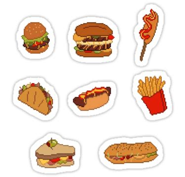 cuisine stickers quot pixel junk food stickers 1 quot stickers by siins redbubble