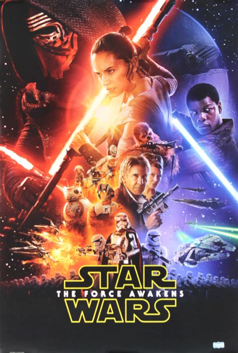 anthony daniels signed star wars  force awakens poster