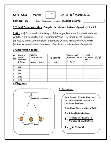 Pendulum Lab Report by Physics Gr 9 Igcse Sle Lab Report