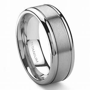 TENSUS Titanium 8mm Grooved Wedding Ring