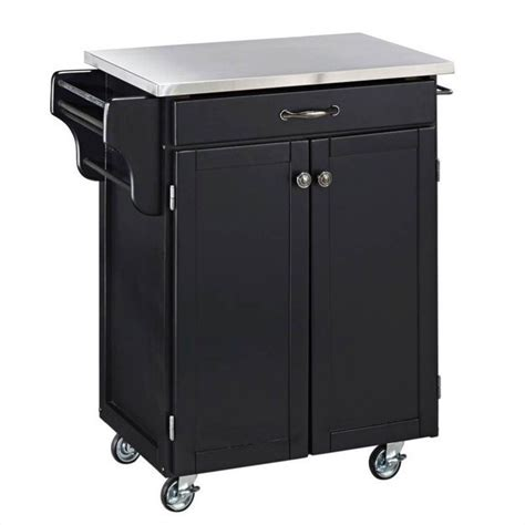 black wood kitchen cart  stainless steel top