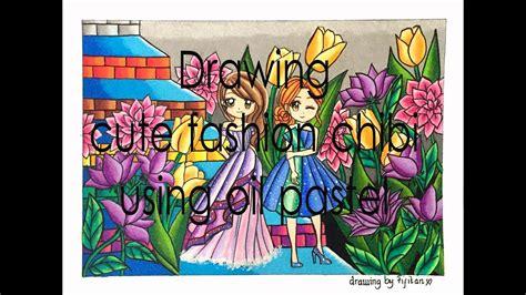 gradasi warna oil pastel tema cute chibi fashion