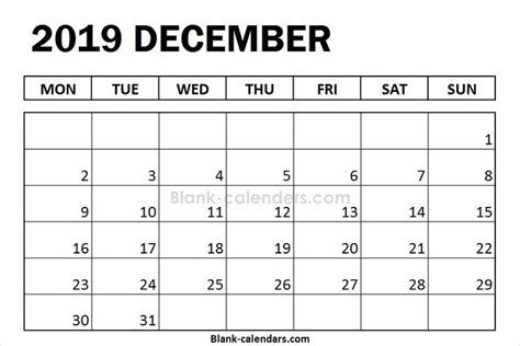 blank december calendar  monday start august