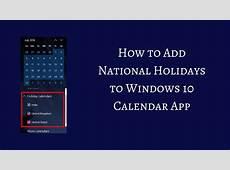 Add National Holidays to Windows 10 Calendar App