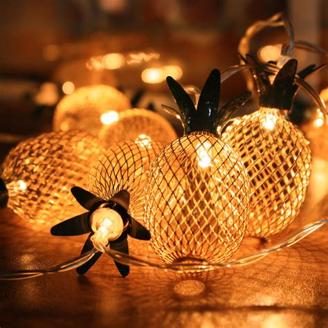 battery powered metal pineapple shaped warm white indoor