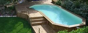 piscine bois hors sol et semi enterree piscine With terrasse en bois pour piscine hors sol 1 piscine bois hors sol bluewood avec jacuzzi construction