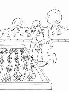Jardin Dessin Couleur : coloriage jardinier dans son petit jardin dessin gratuit ~ Melissatoandfro.com Idées de Décoration