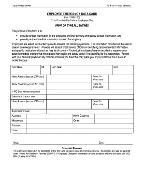 employee emergency contact form templates fillable