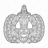 Halloween Pumpkin Mandala Colorare Pompoen Zucca Kleuren Coloring Zentangle Vector Coloriage Boek Stockillustratie Adult Livre Adults Vettore Libro Della Kleurboek sketch template