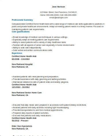 home care resume format sle home health aide resume 7 exles in word pdf