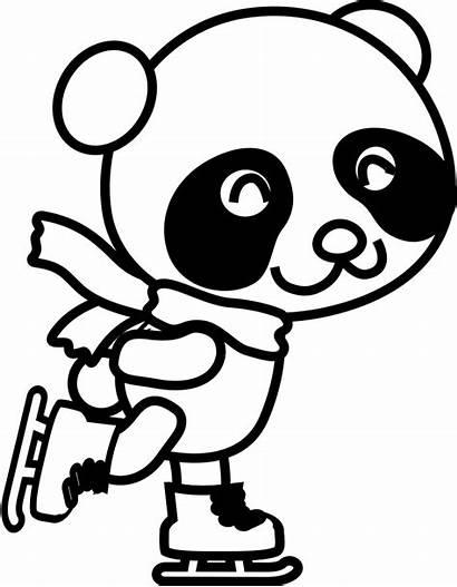 Panda Coloring Skating Clipart Clip Pages Drawing