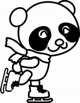 Panda Coloring Skating Clipart Pages Clip Figure Drawing Ice Christmas Skate Animals Skates Openclipart Characters sketch template