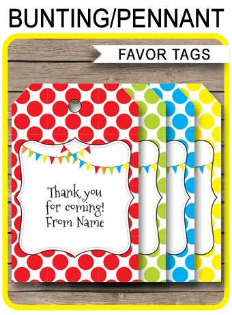 pennant birthday party favor tags   tags