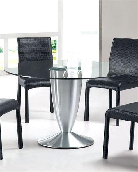 Modern Round Glass Top Dining Table European Design 33D282