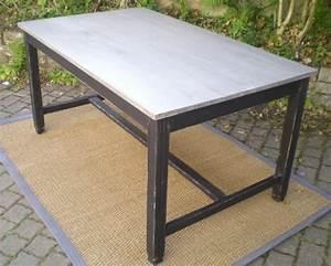 Table Cuisine Rectangulaire : jolie table rectangulaire ancienne en bois peint deco cuisine ~ Teatrodelosmanantiales.com Idées de Décoration