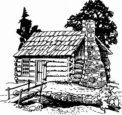 Cabin Log Clipart Building Woods Clip Drawing
