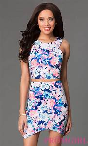 short two piece floral print dress With two piece wedding guest dress