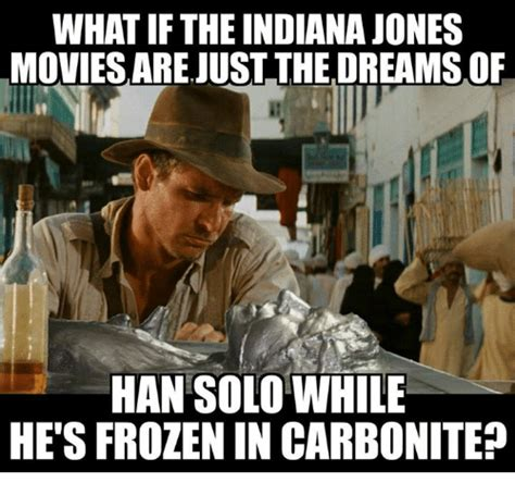 Solo Memes - what if the indiana jones movies arejust the dreamsof han solo while hetsfrozen in carbonite