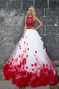 robe de mariee princesse rouge et blanche danse With robe blanche et rouge
