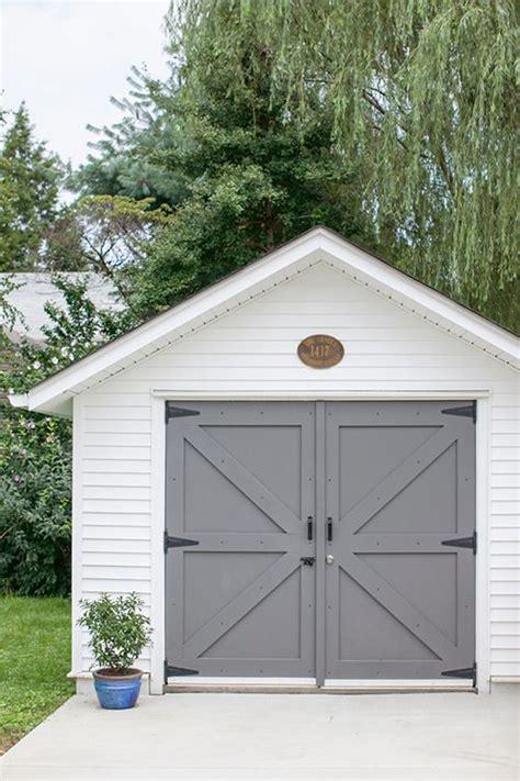 shed with garage door gray garage doors in benjamin kendall charcoal paint from design sponge exterior design