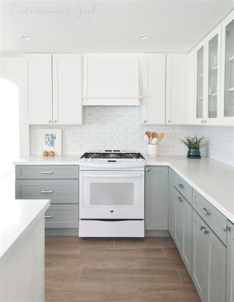 grey and white cabinets white upper cabinets range wall pinteres