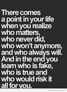 Who matters in life quote