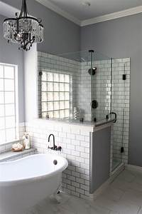 master bath remodel grey grout white subway tiles and grout With redesign bathroom online