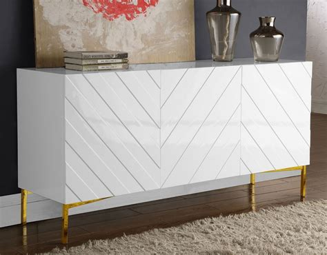 collette sideboard buffet white gold meridian furniture furniture cart