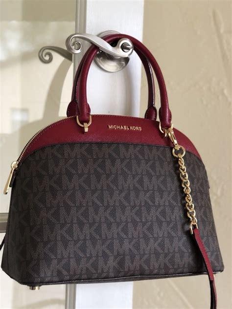 michael kors  mk holiday dome satchel purse brown burgundy leather cross body bag tradesy