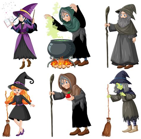 Set of wizard or witches with magic tools 1343410 - Download Free Vectors, Clipart Graphics ...