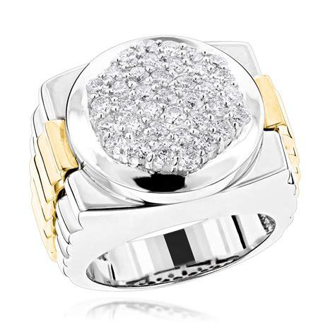 mens   tone gold diamond ring  pave