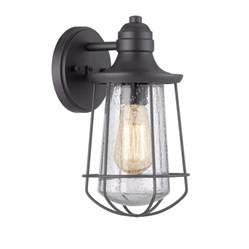 shop portfolio valdara 11 5 in h mystic black outdoor wall light at lowes com