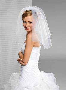 2 tier short bridal wedding veil with cording edge With short wedding dress veil