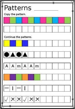 repeating patterns worksheet copy continue and create tpt