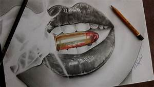 How to draw Realistic Lips 💋 ( smoke ,bullet 🔫 ) - YouTube